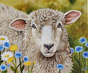 Sheep Tapestries Textiles - Winnie in the Wild Flowers by Laura Carey
