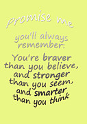 Word Art Digital Art Prints - Winnie the Pooh - Promise Me Print by Georgia Fowler
