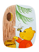 For The Kids Framed Prints - Winnie The Pooh and His Lunch Framed Print by Irina Sztukowski