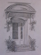 Doorway Drawings Framed Prints - Winnipeg Doorway Framed Print by Carol Mueller