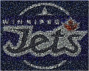 Signed Digital Art Posters - Winnipeg Jets Puck Mosaic Poster by Paul Van Scott