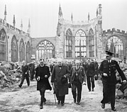 Cathedral Ruins Posters - Winston Churchill 1874-1965, Walks Poster by Everett