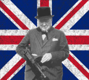 World War Two Digital Art Metal Prints - Winston Churchill and His Flag Metal Print by War Is Hell Store