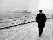 Celebrities Photo Metal Prints - Winston Churchill At Sea Metal Print by War Is Hell Store