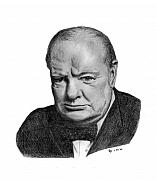 Pencil Portrait Prints - Winston Churchill Print by Charles Vogan