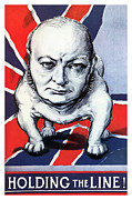 Political Mixed Media Prints - Winston Churchill Holding The Line Print by War Is Hell Store