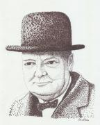 Drawing Prints - Winston Churchill Print by Jose Valeriano