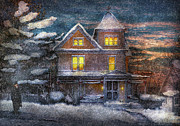 Snow Scenes Metal Prints - Winter - Clinton NJ - A Victorian Christmas  Metal Print by Mike Savad
