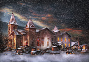 Snowed Prints - Winter - Clinton NJ - Silent Night  Print by Mike Savad