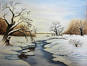Snow Scene Pastels Metal Prints - Winter 2011 Metal Print by Maris Sherwood