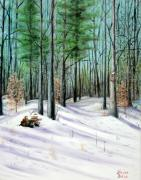 Woods; Shadows; Trees Paintings - Winter Afternoon by Brenda Baker