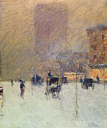 Carriage Horses Paintings - Winter Afternoon in New York by Childe Hassam