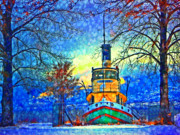 Tara Turner Prints - Winter and the Tug Boat 2 Print by Tara Turner