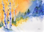 Winter Trees Painting Metal Prints - Winter Aspen Glow Metal Print by Donna Martin
