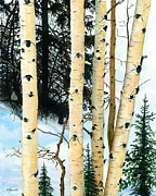 Watercolor Resort Posters - Winter Aspens Poster by Barbara Jewell