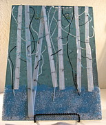 Fused Glass Art - Winter Aspens by Lisa Kohn