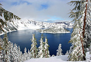 Mount Mazama Posters - Winter at Crater Lake Poster by Steven King