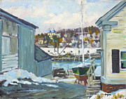 Sailboat Paintings - Winter at Gloucester Harbor by Chris Coyne