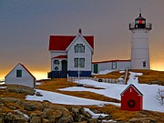 Short Sands Prints - Winter at Nubble Light  Print by Scott Moore