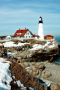 New England Coast  Framed Prints - Winter at Portland Head Framed Print by Greg Fortier