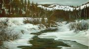 Snowscape Paintings - Winter at Silver Creek by Bonnie Peacher