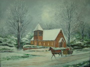 Charlotte Painting Posters - Winter at St. Marys Chappel  Poster by Charles Roy Smith