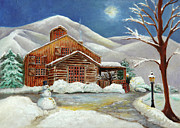 Snowman Acrylic Prints - Winter at the Cabin by Enzie Shahmiri