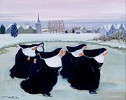 Skating Painting Prints - Winter at the Convent Print by Margaret Loxton