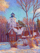 Green Grass Pastels Posters - Winter at the lighthouse Poster by Michael Camp