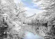 Infrared Prints - Winter at the Reservoir Print by Lori Deiter