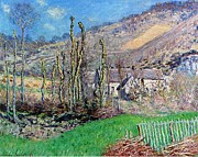 Winter Landscapes Metal Prints - Winter at the Val de Falaise Metal Print by Claude Monet