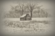 Log Cabin Digital Art Prints - Winter At Valley Forge Print by Bill Cannon