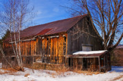 Winter Scenes Rural Scenes Prints - Winter Barn - Chatham New Hampshire Print by Thomas Schoeller