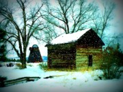 Old Barn Posters - Winter Barn and Silo Poster by Carol Groenen