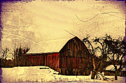 Red Barn Digital Art - Winter Barn by Bill Cannon