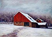 Snow Scene Pastels Framed Prints - Winter Barn Bucks County Pennsylvania Framed Print by Joyce A Guariglia