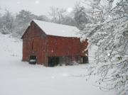 Winter Storm Framed Prints - Winter Barn Framed Print by Steve Mullins