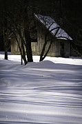 Warm Light Posters - Winter Barn Poster by Rob Travis