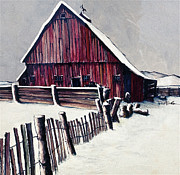 Red Barn In Winter Art - Winter Barn by Robert Birkenes