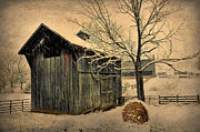 Hay Bale Photos - Winter Barn by Todd Hostetter