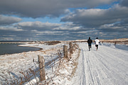 Duxbury Prints - Winter Beach Joggers Print by Susan OBrien