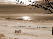 Muted Posters - Winter Beach Morning sepia Poster by Bill Pevlor