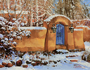 Adobe Buildings Prints - Winter Beauty of Santa Fe Print by Gary Kim