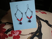 Black Jewelry Metal Prints - Winter Berry Beaded Earrings Metal Print by Beth Sebring