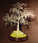 Trees Sculpture Originals - Winter Bird Nest - Wire Tree Sculpture by Sal Villano