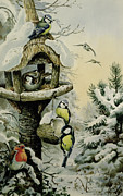 Blue House Prints - Winter Bird Table with Blue Tits Print by Carl Donner