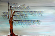 Snowy Trees Paintings - Winter Blues by Andrea Youngman