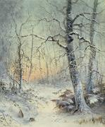 Snowy Trees Painting Posters - Winter Breakfast Poster by Joseph Farquharson