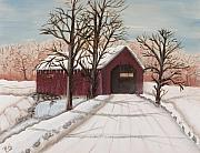 Rural Snow Scenes Originals - Winter Bridge by Julia Ellis