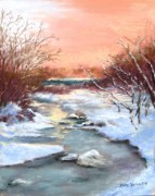 Snow Scene Pastels Framed Prints - Winter Brook Framed Print by Jack Skinner
